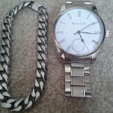 Thomas calvi watch and curb bracelet set