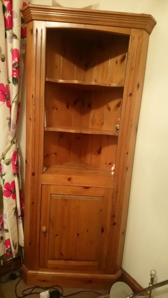 Solid wood oak pine corner unit cupboard