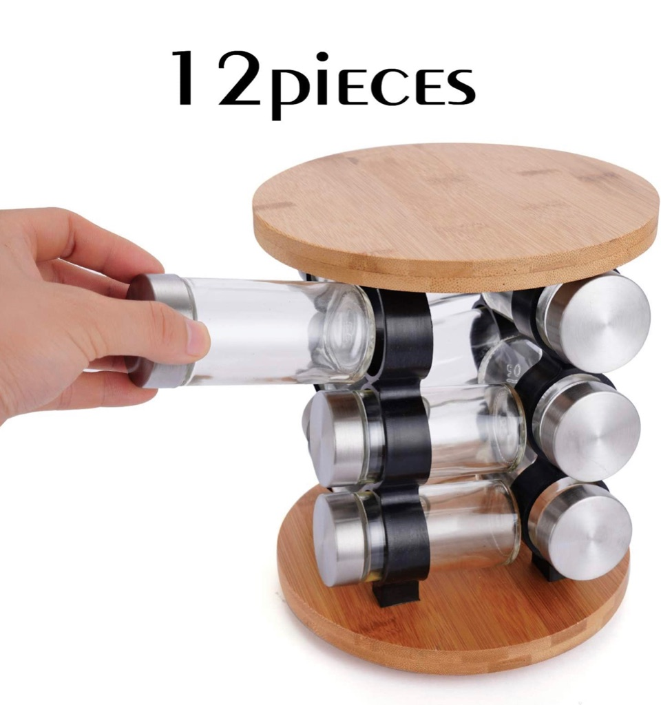 Sogreat Spice Rack with Glass 12 Jars, Revolving Countertop Spice Stand Organizer Tower