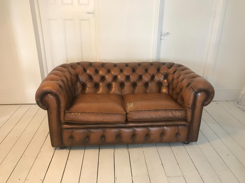 Chesterfield Tan Leather Two Seater Sofa