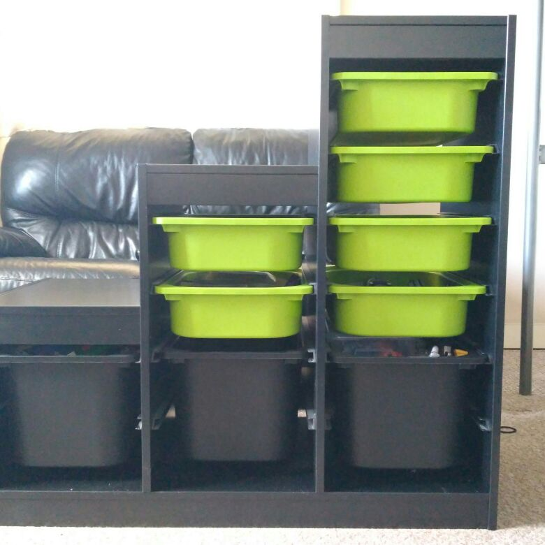 Ikea Trofast Kid's Storage Unit in Black with 9 boxes
