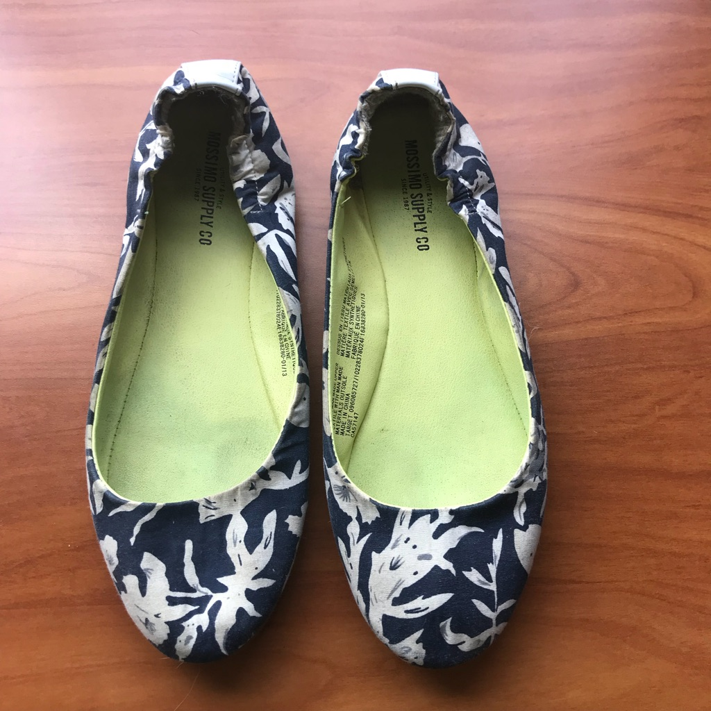Blue and White Slip Ons - size 7