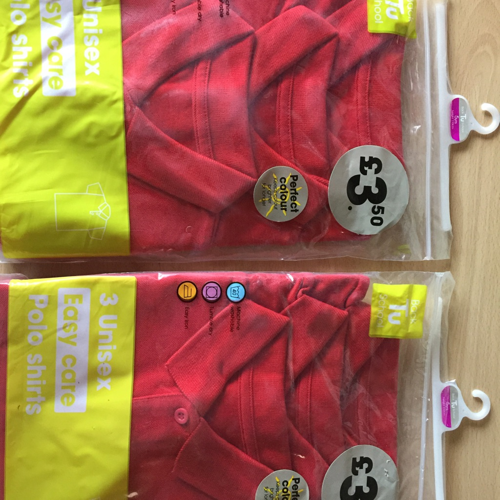 6 Brand new red kids polo shirts