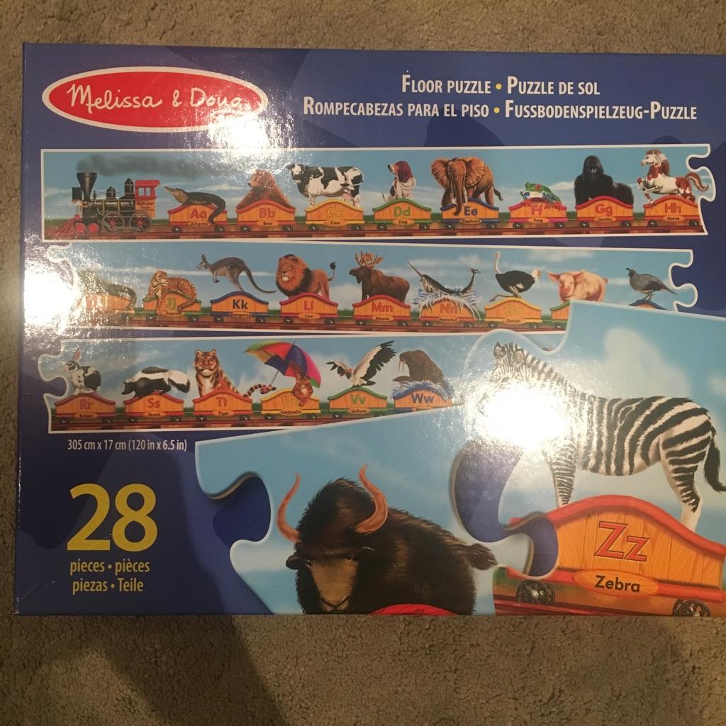 Melissa & Doug animal alphabet train puzzle 28 pieces