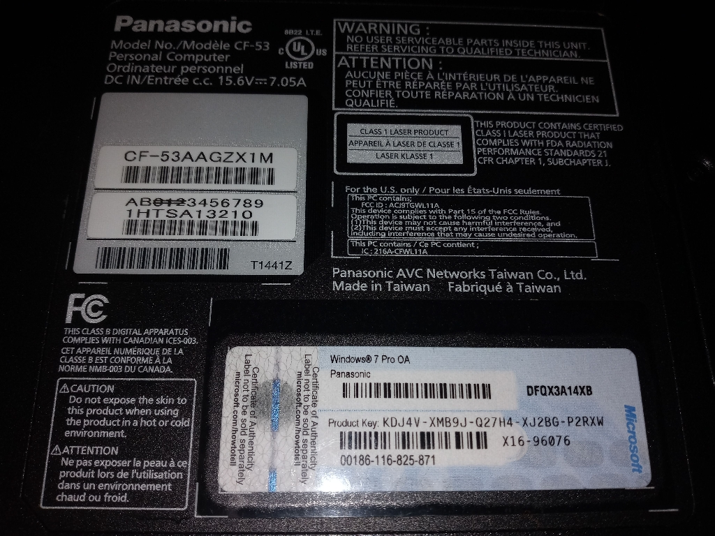 Panasonic toughboook laptop
