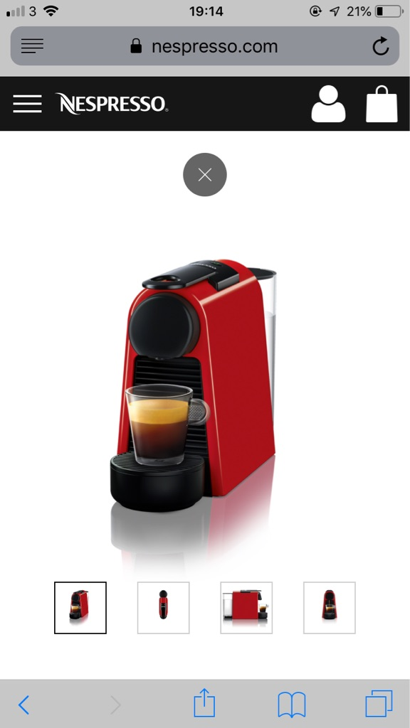 Red nespresso coffee machine