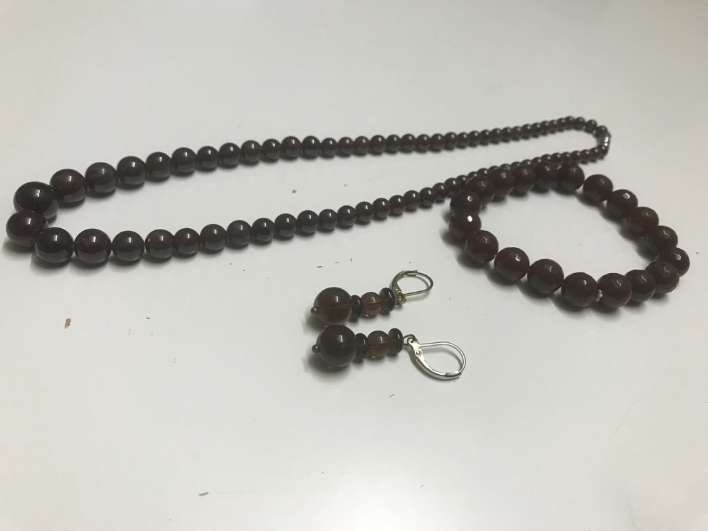 Brown beads chain/necklace with earrings/studs and bracelet