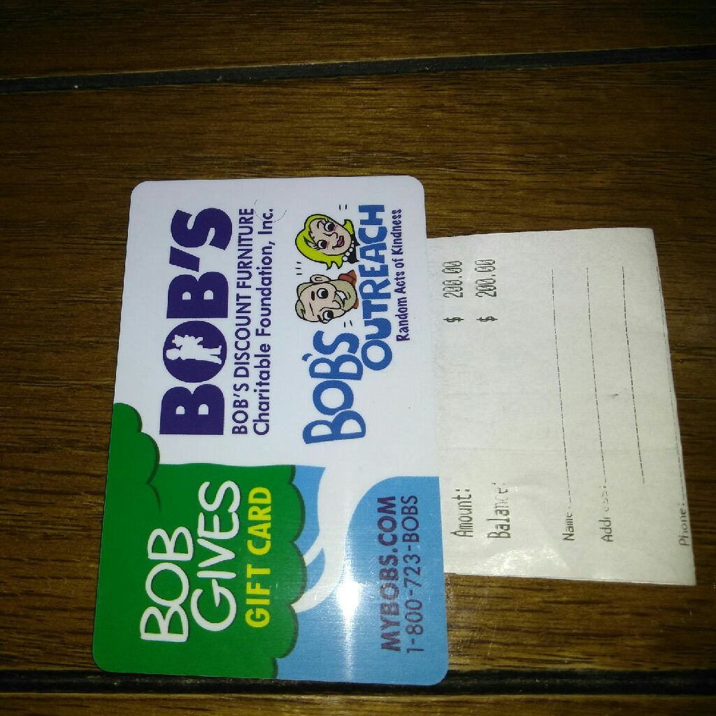 Bobs gift card