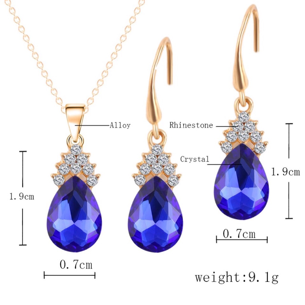 Amethyst teardrop pendant gold chain necklace matching with hook earrings brand new