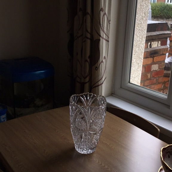 Old cut glass vase