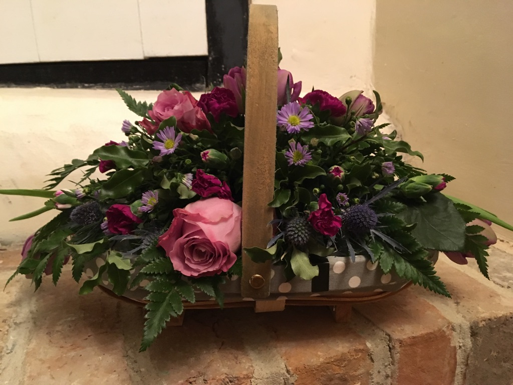Beautiful pink and purple basket arrangement