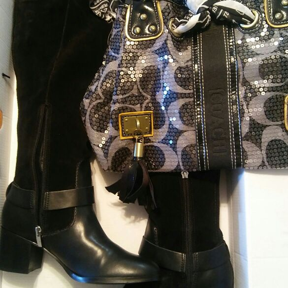 Women Black Boots Size 8 and Coach Bag
