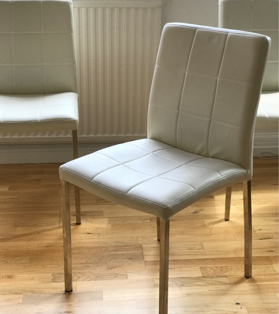 White / Cream faux leather cushioned dining chairs (10 avail)