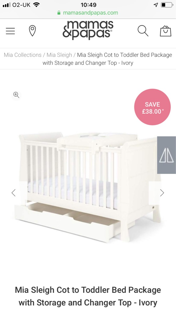 Mia sleigh cot bed