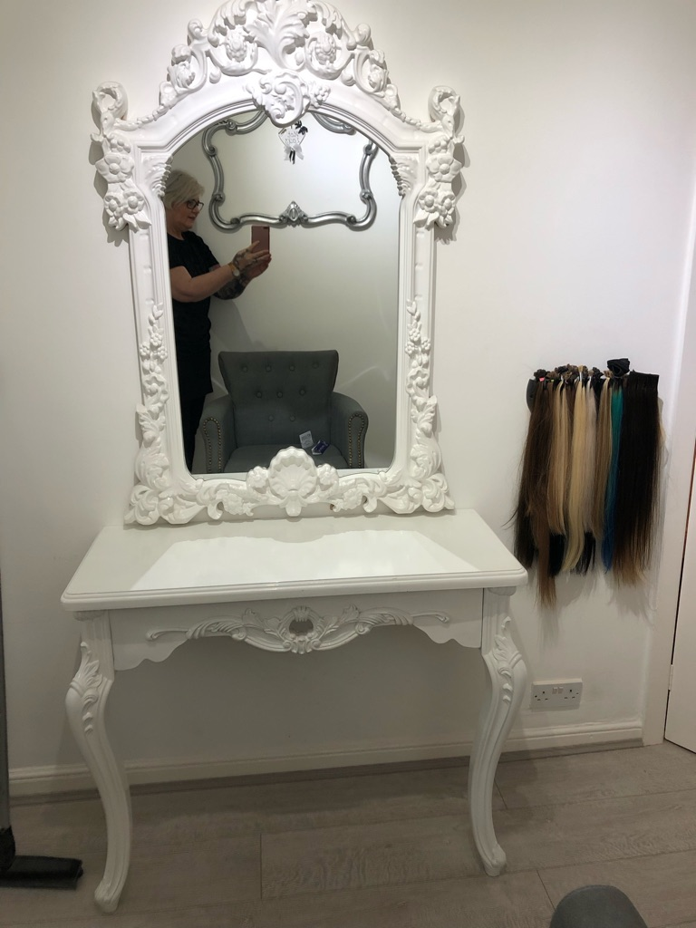 Salon mirror and styling station table