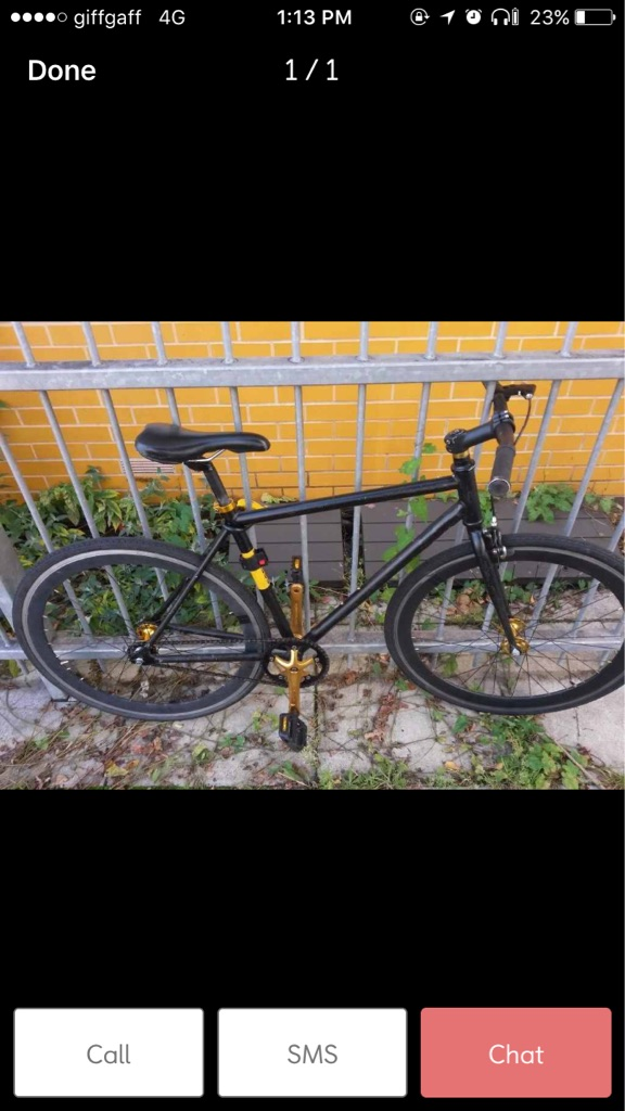No logo black and gold fixie single bike for sale