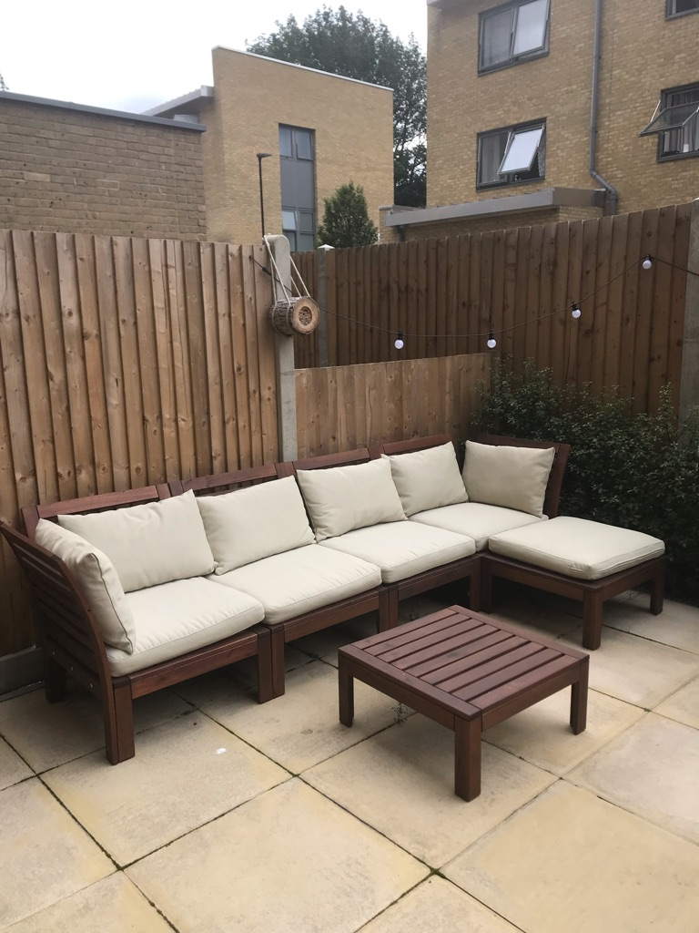 IKEA Outdoor Sofa, Storage Chest & Table
