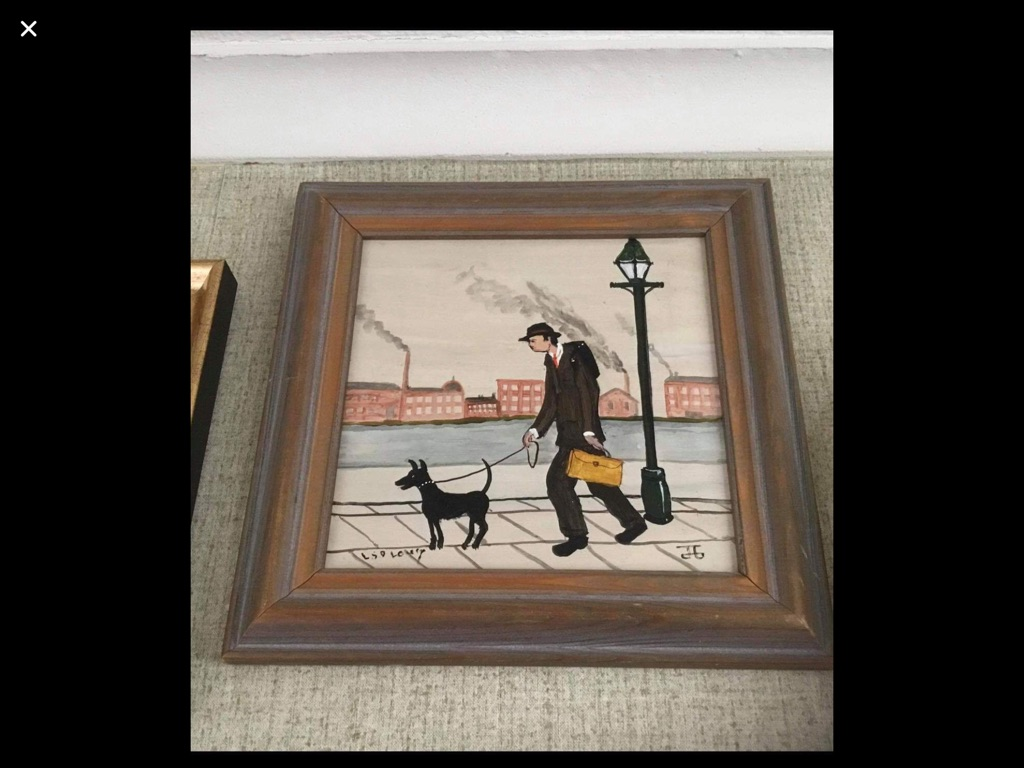 Oil painting on canvas signed after L S Lowry H11in W11in