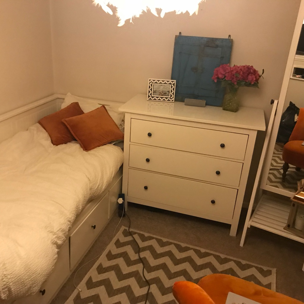 Ikea bed, chest of drawers and free standing mirror