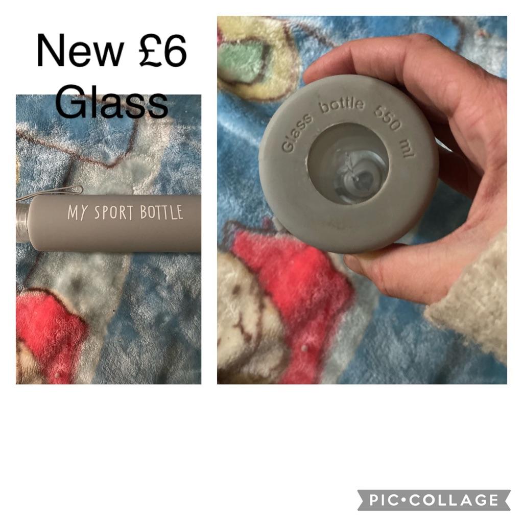 Glass sports bottle new
