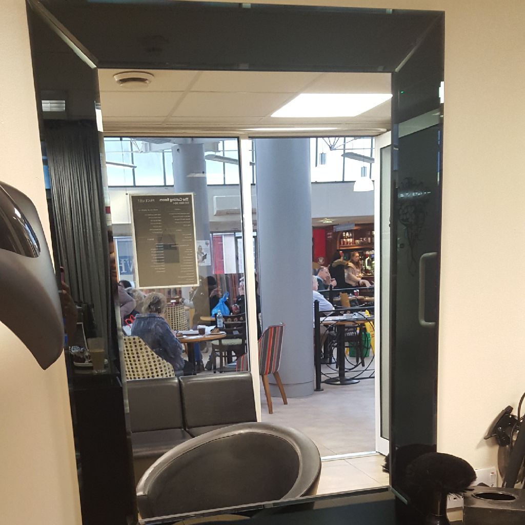 X2m3 salon mirrors with floating shelves