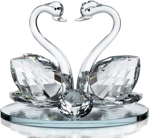 Decorative crystal glass double swans with Swarovski crystal elements giftware present