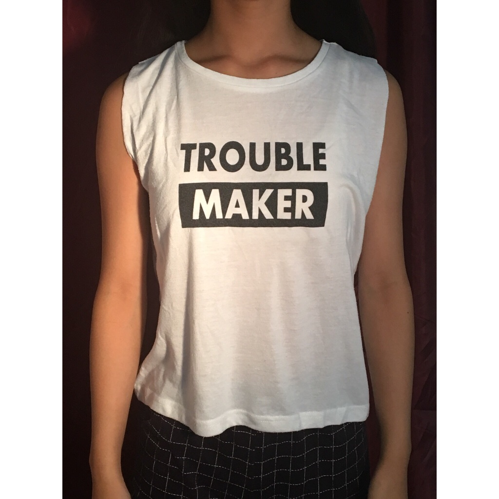 Atmosphere 'Troublemaker' Black & White Tank Top