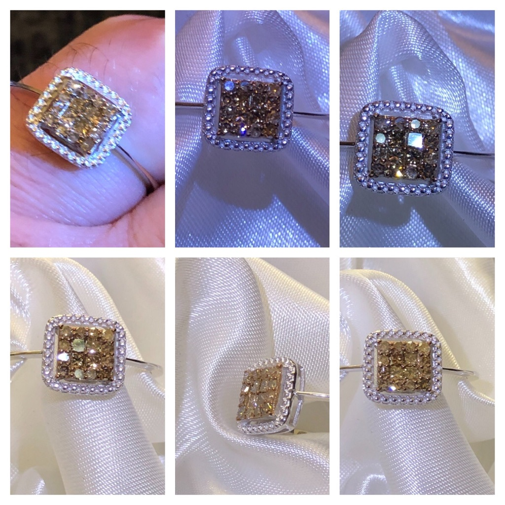 Champagne Diamond Ring Size V in Platinum Overlay Sterling Silver 925 0.33 Ct BRAND NEW