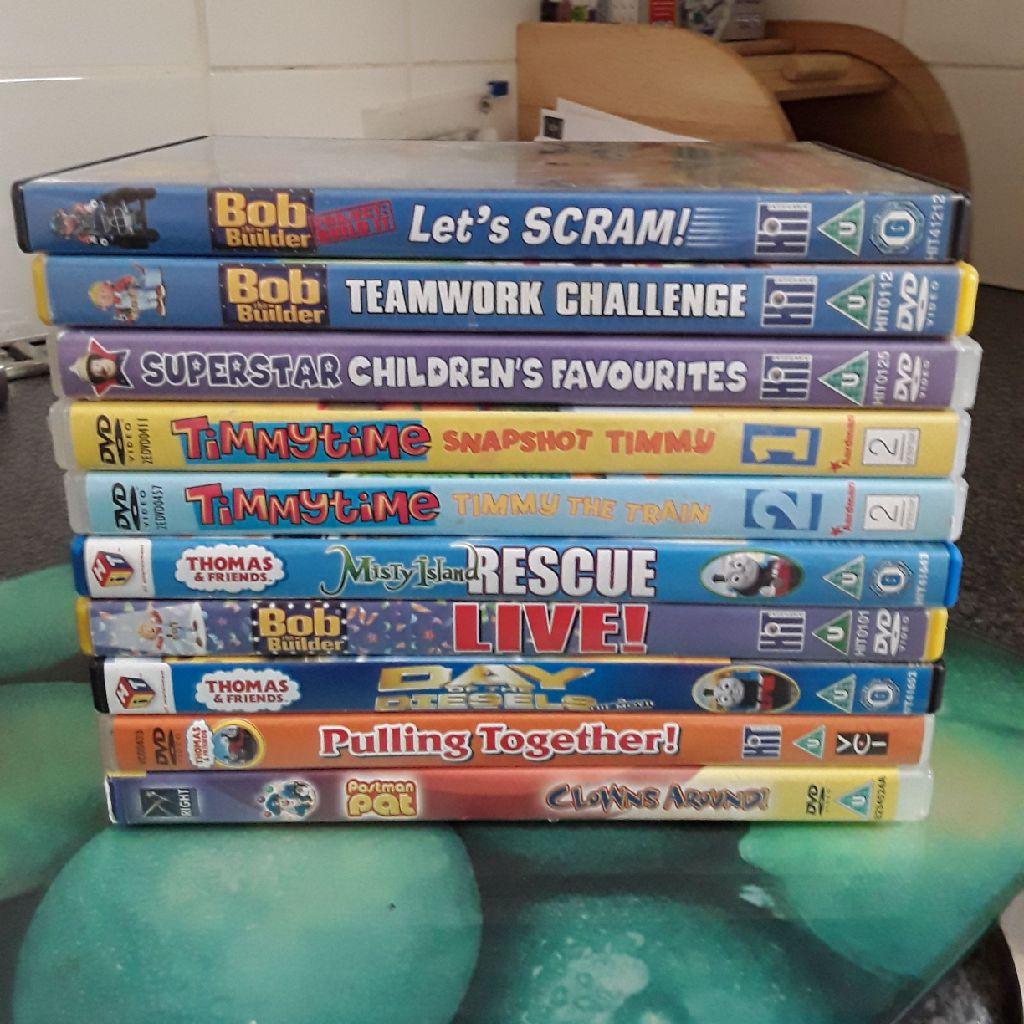 10 childrens DVDs.