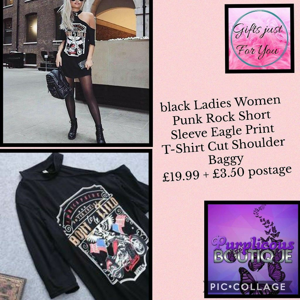 black Ladies Women Punk Rock Short Sleeve Eagle Print T-Shirt Cut Shoulder Baggy