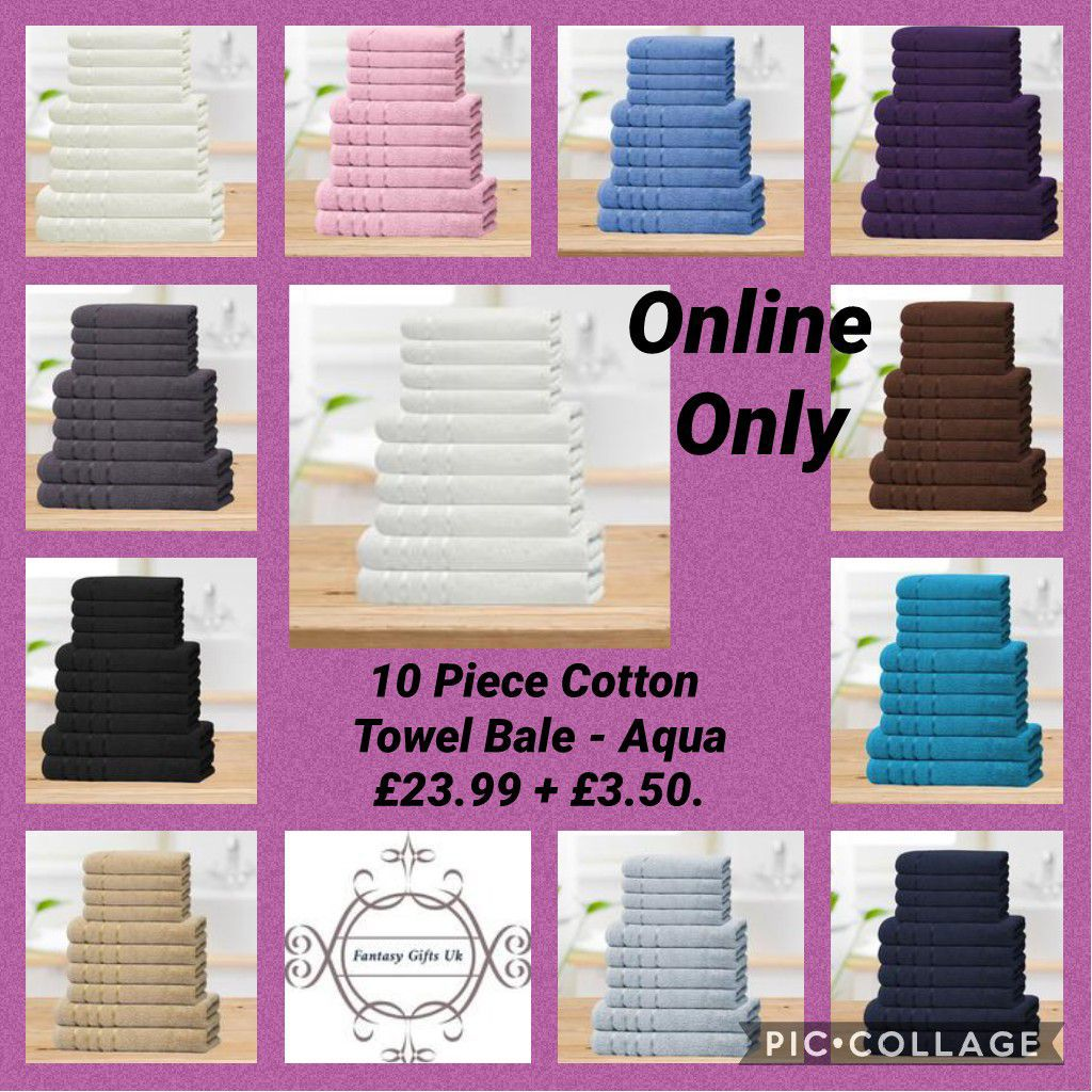 10 Piece Cotton Towel Bale. Aqua,beige,black,chocolate,cream,grey,navy,pink,purple,blue,teal,white. £23.99 + £3.50 Contains: 4 Face Cloths, 4 Hand Towels, 2 Bath Towel Bale