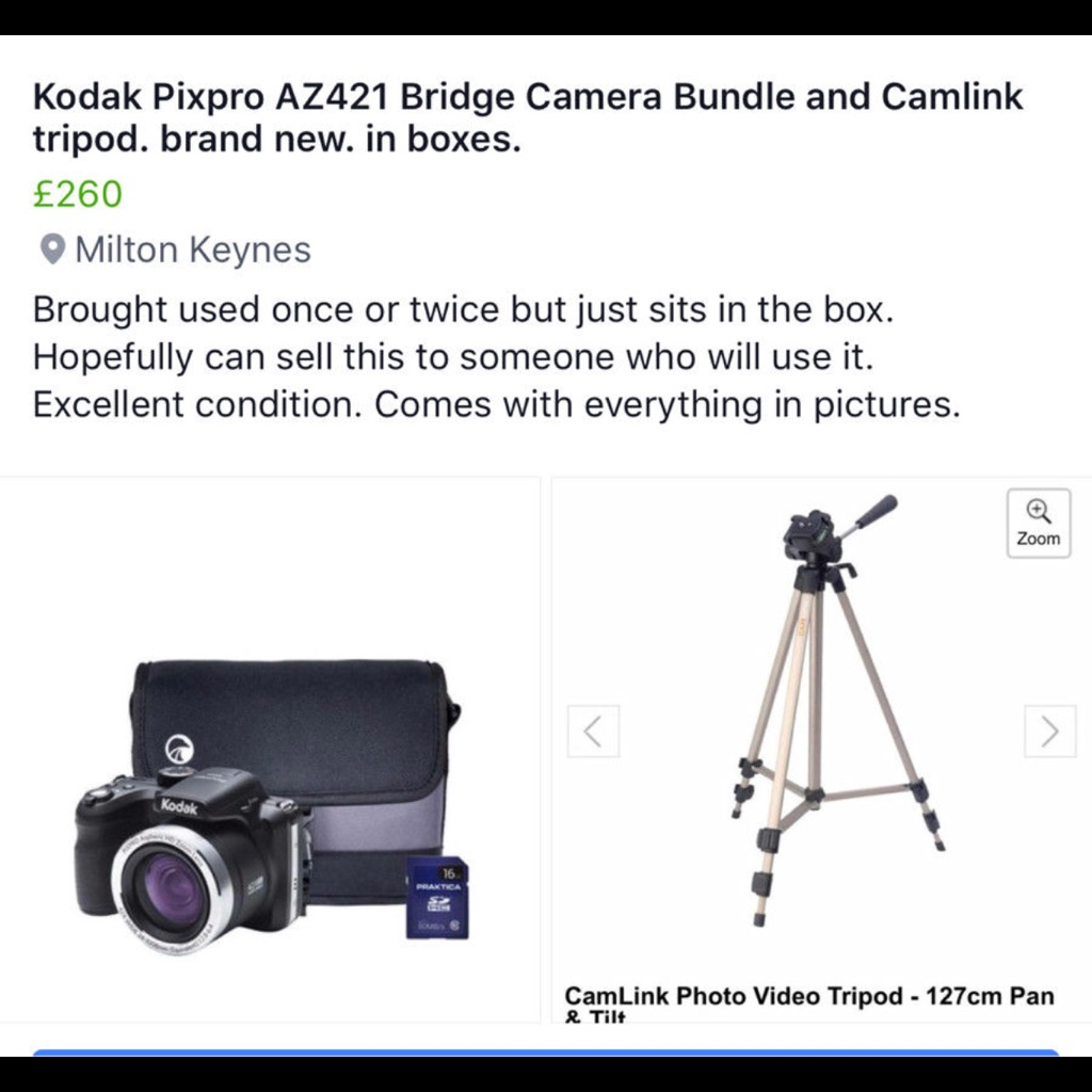 Kodak pixpro az421 bridge camera bundle and camlink tripod- brand new