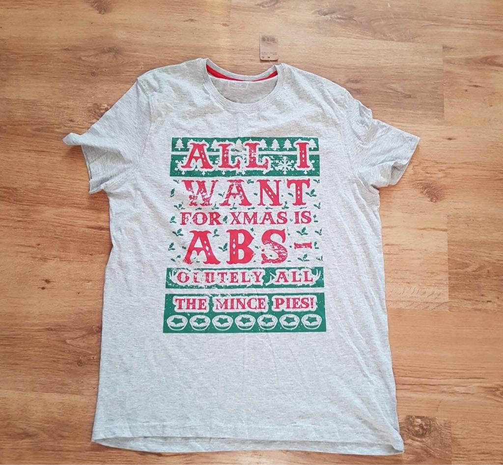 Men's grey Christmas t shirt size XL