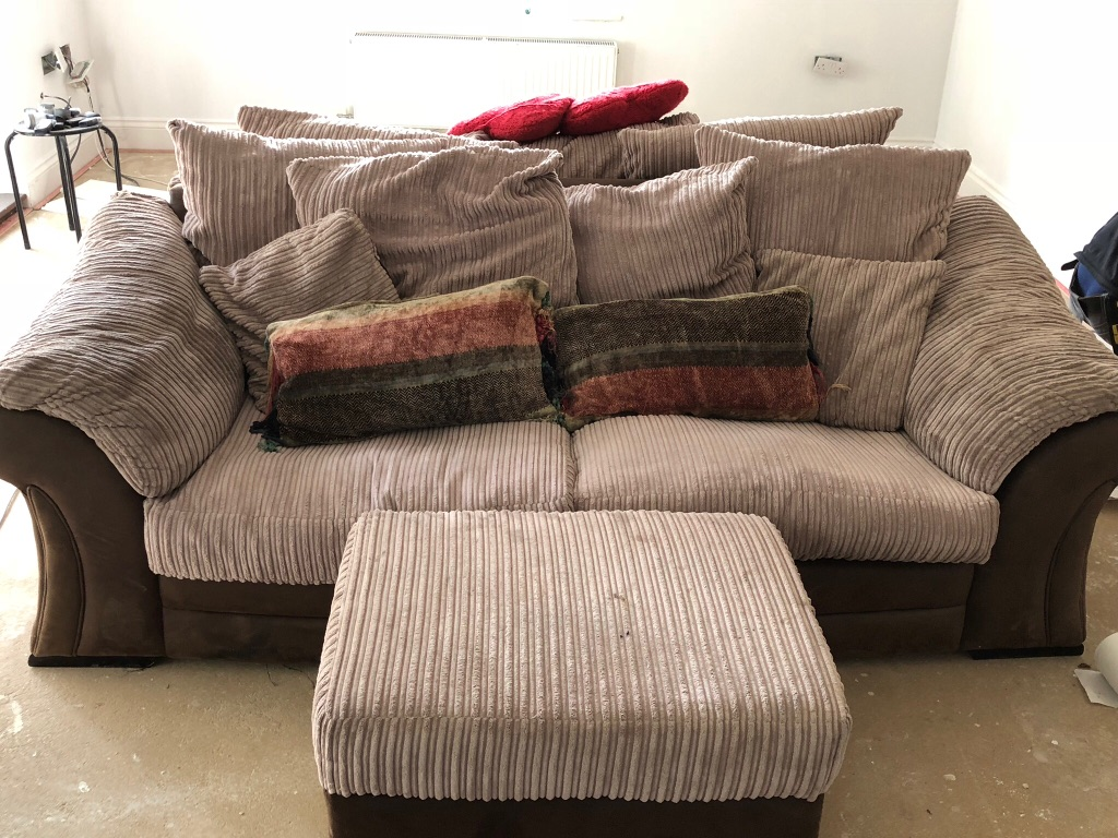 Sofa bed and 3 seater sofa with footstool