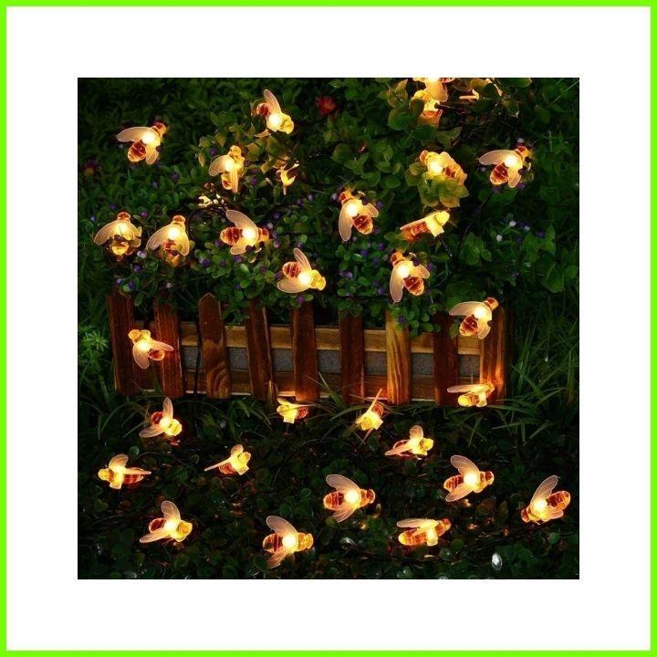 LED Solar Garden Lights 8 Mode Waterproof Outdoor Honey Bee Fairy String Lights