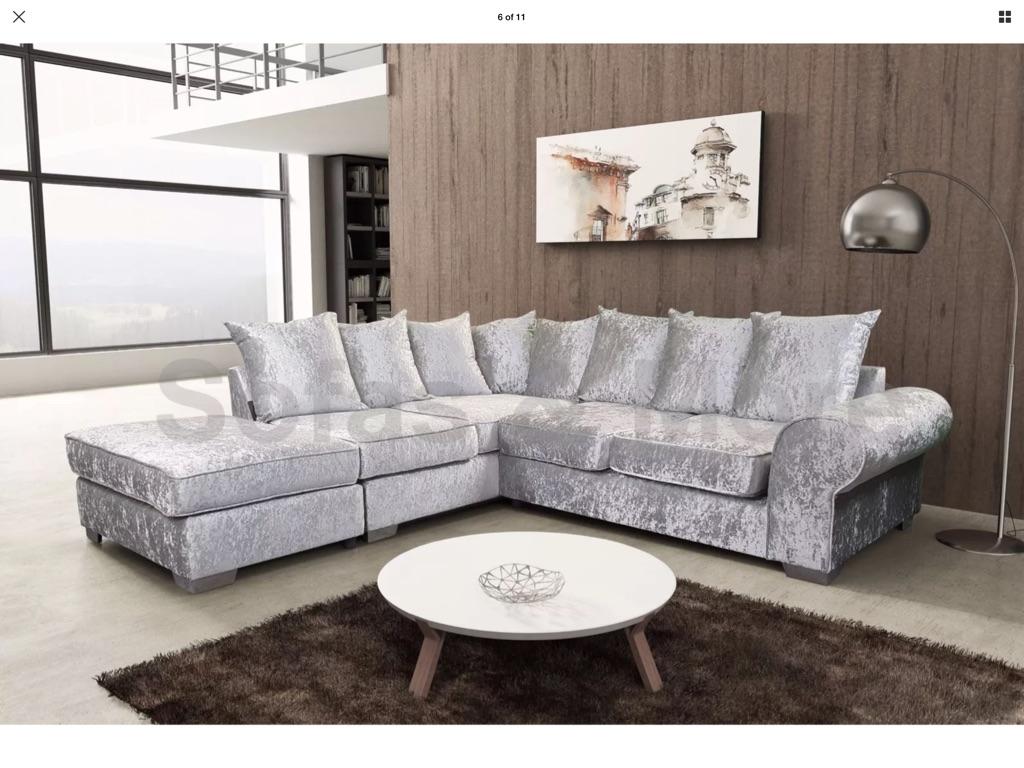 Silver crushed velvet L shape sofa