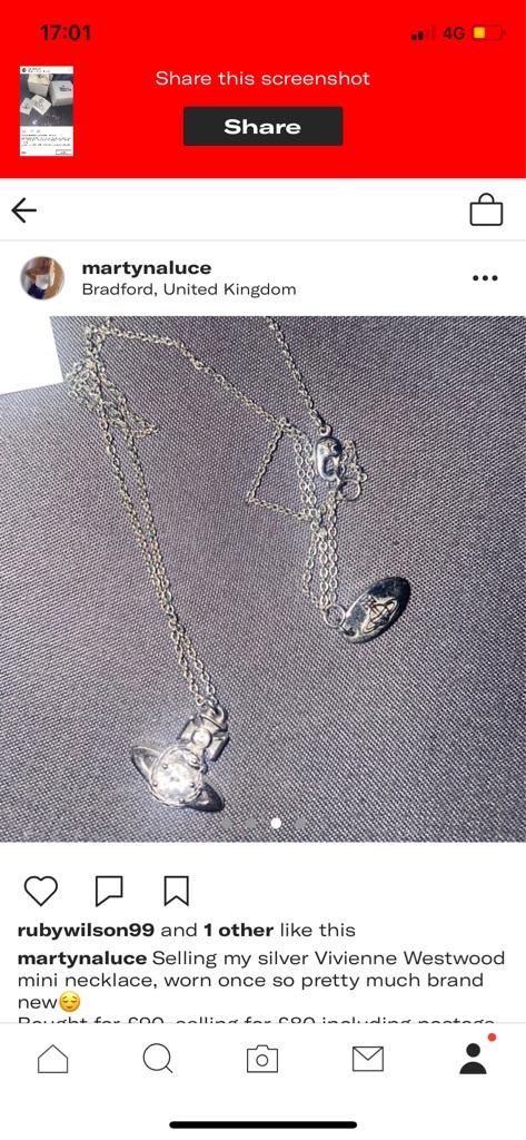 Silver mini Vivienne Westwood necklace