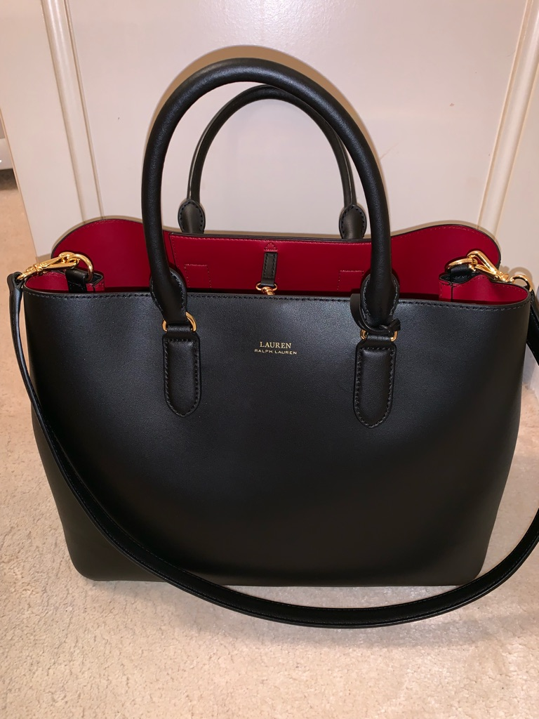 RALPH LAUREN-Leather Marcy Satchel Handbag