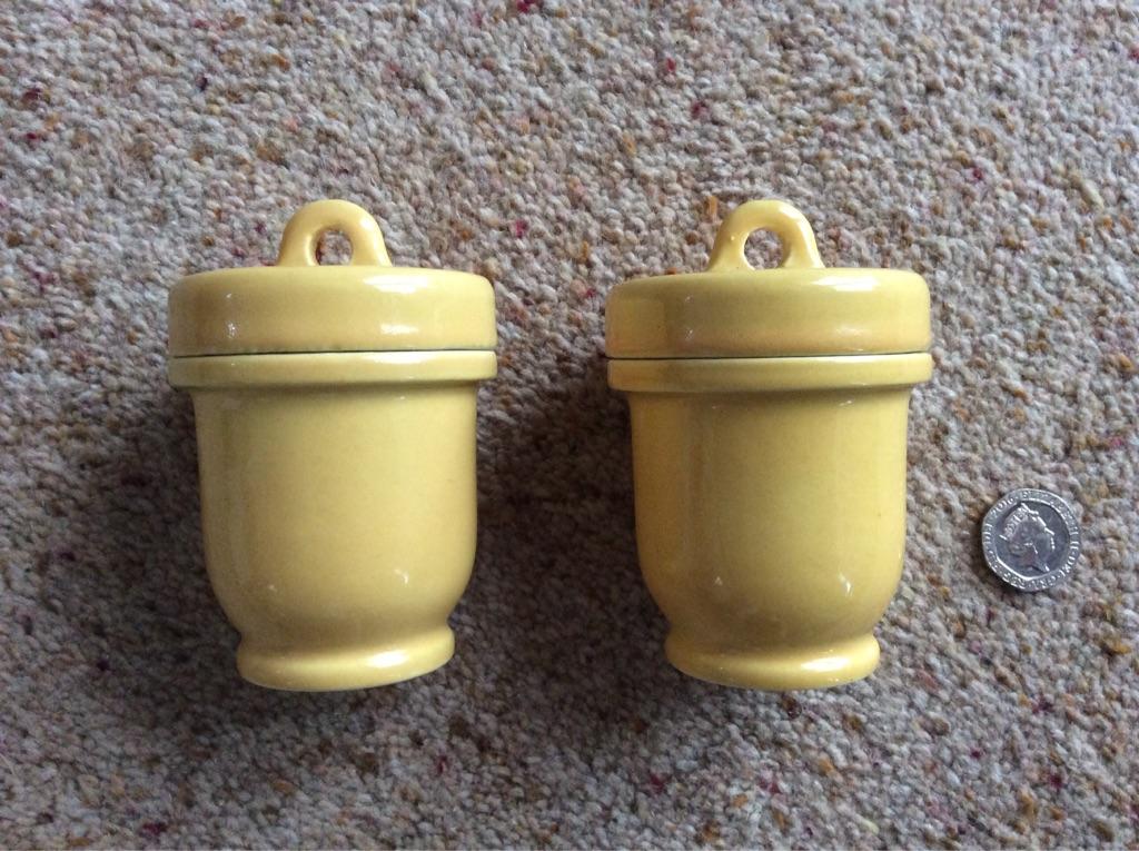 Vintage stoneware egg coddlers