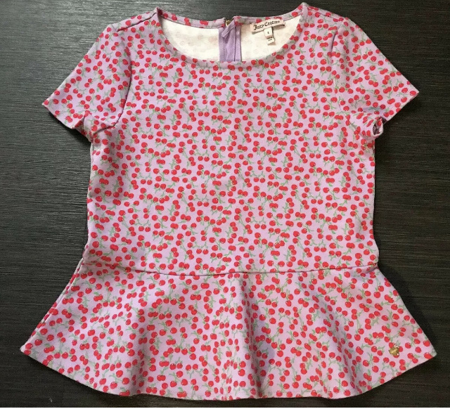JUICY COUTURE Cherry Print Peplum Top Size L Approx Age 9-11 Great Condition