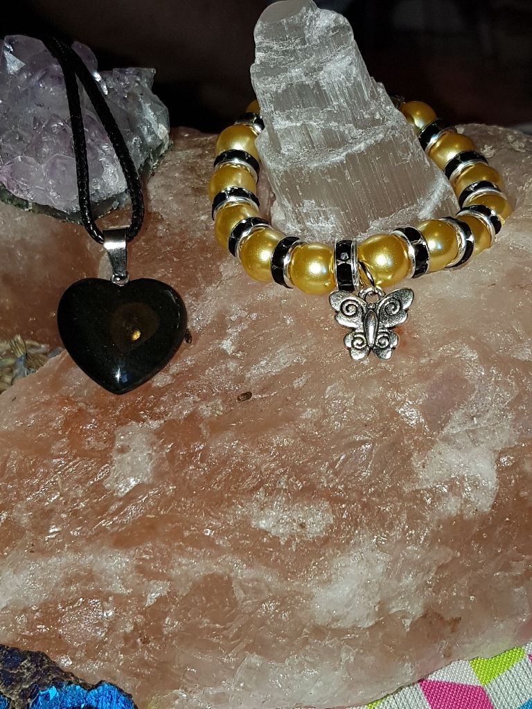 Black Onyx heart and braclet set