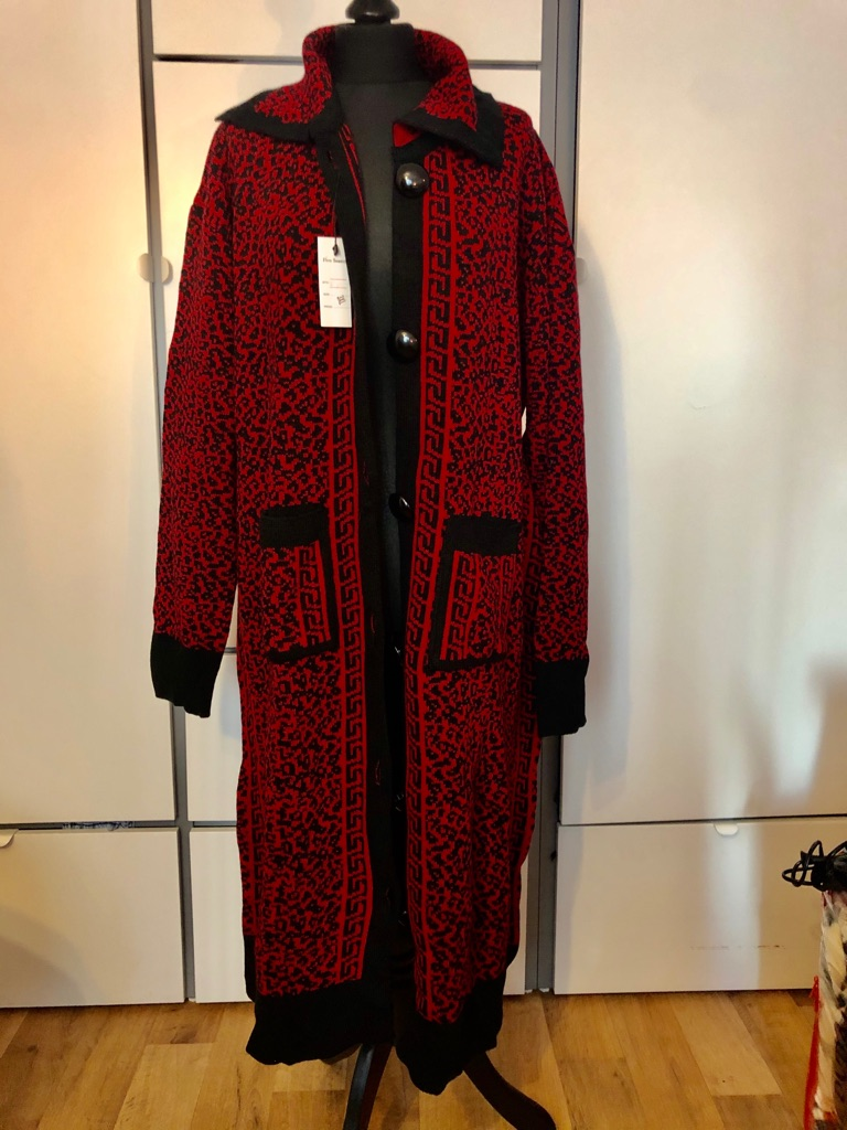 New Red Long Knitted Designer Cardigan