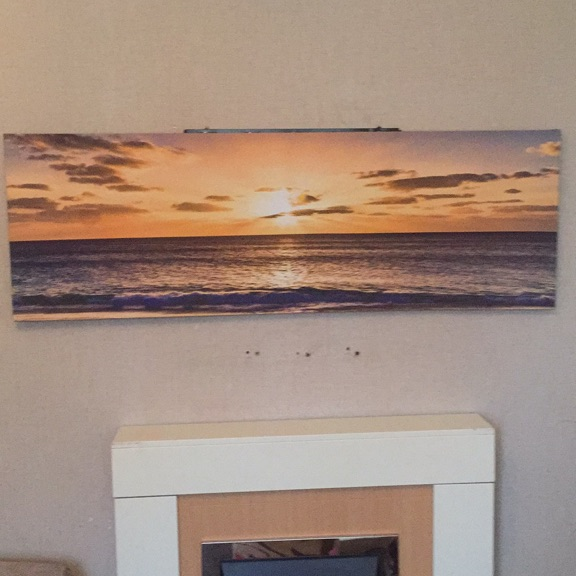 Canvas painting of sunset over the sea