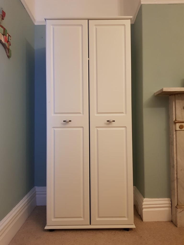 Pair of white painted double wardrobes