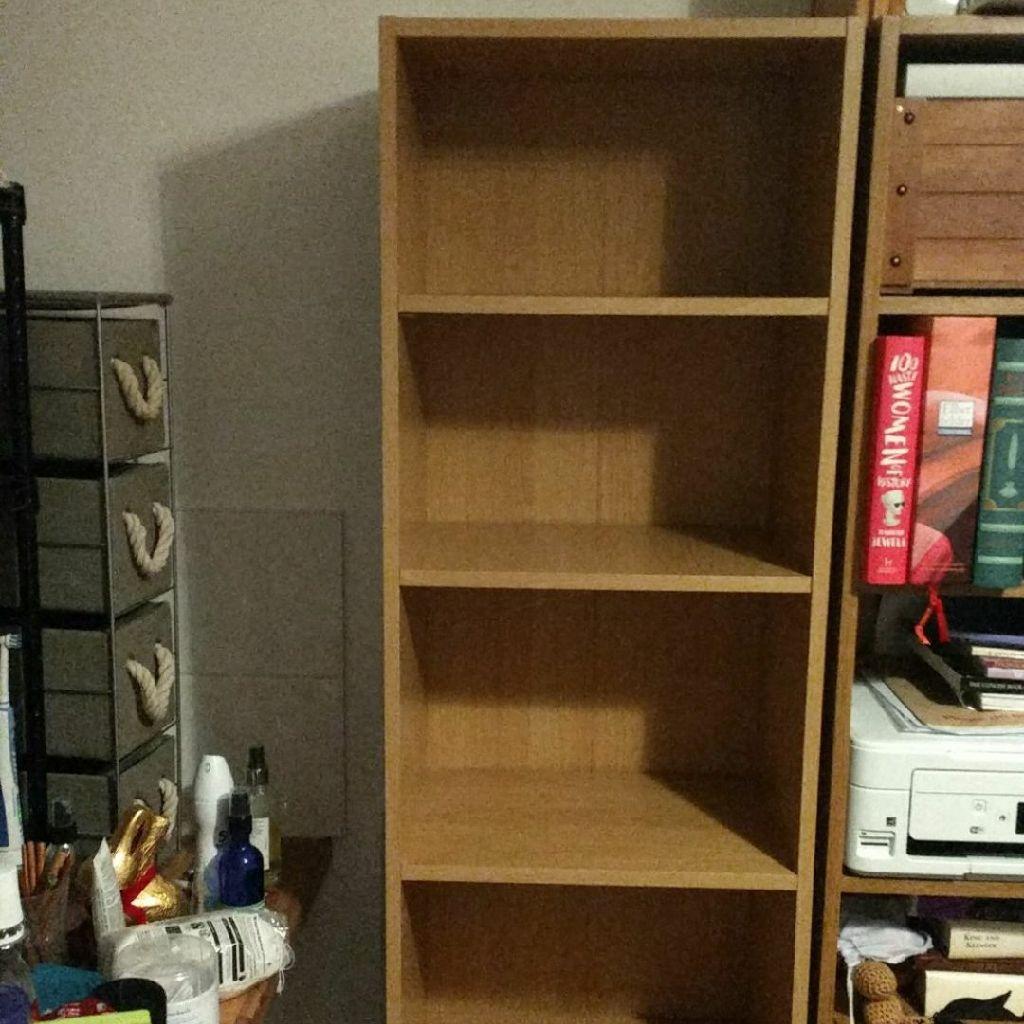 Argos bookcases, one beech one oak