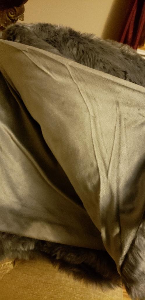 Dark Gray Faux Fur Throw Blanket