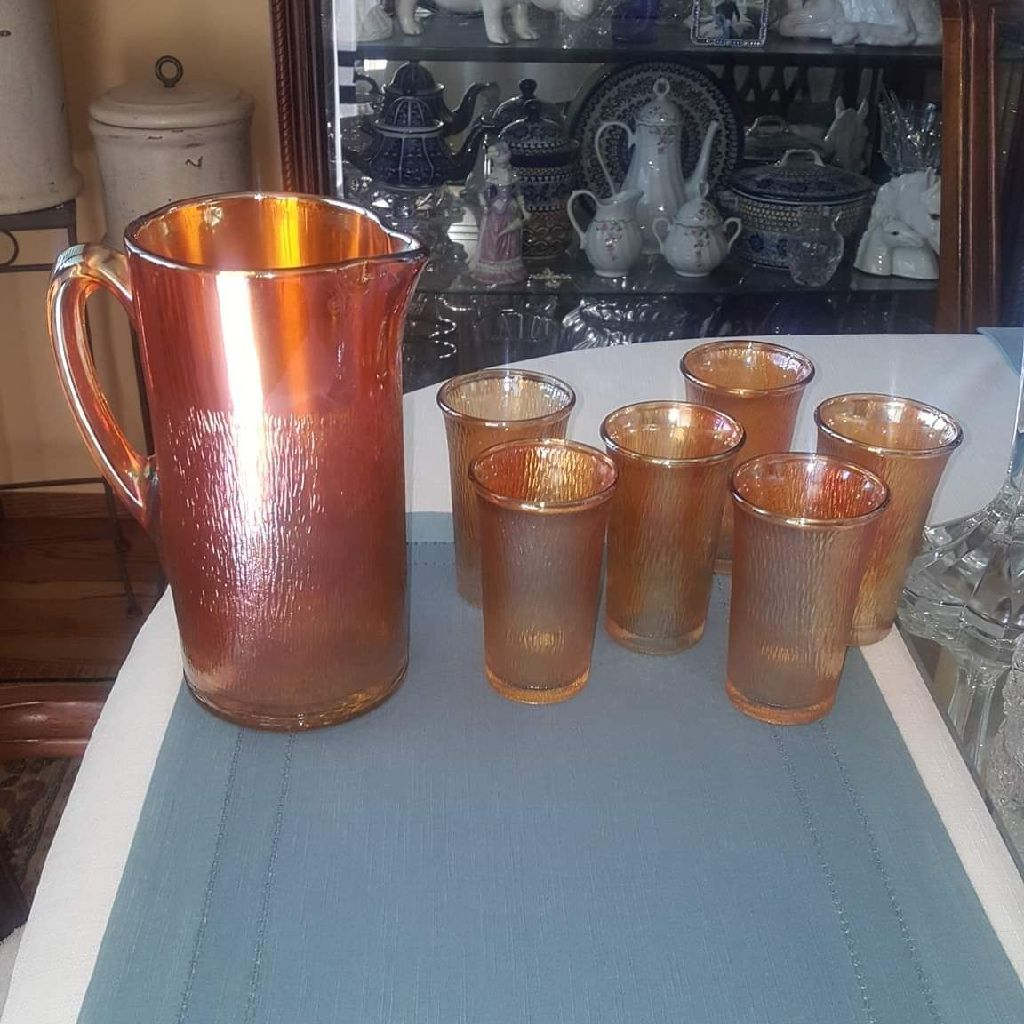 ORANGE CARNIVAL GLASS PITCHER(6)CUP SET