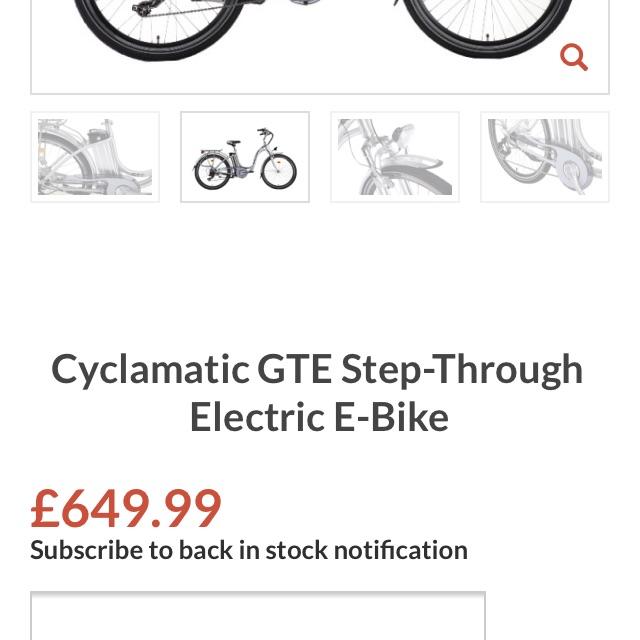Cyclamatic GTE step through unisex bike