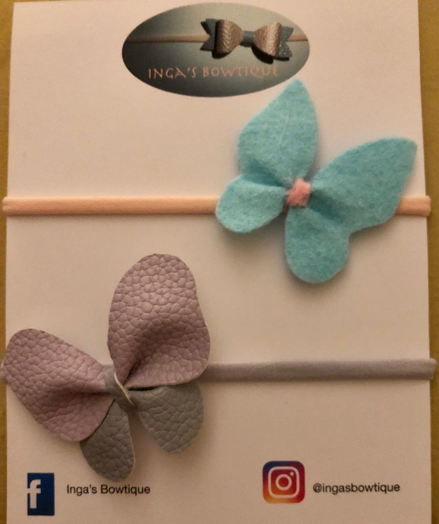 Handmade Butterfly Nylon Headbands Set of 2