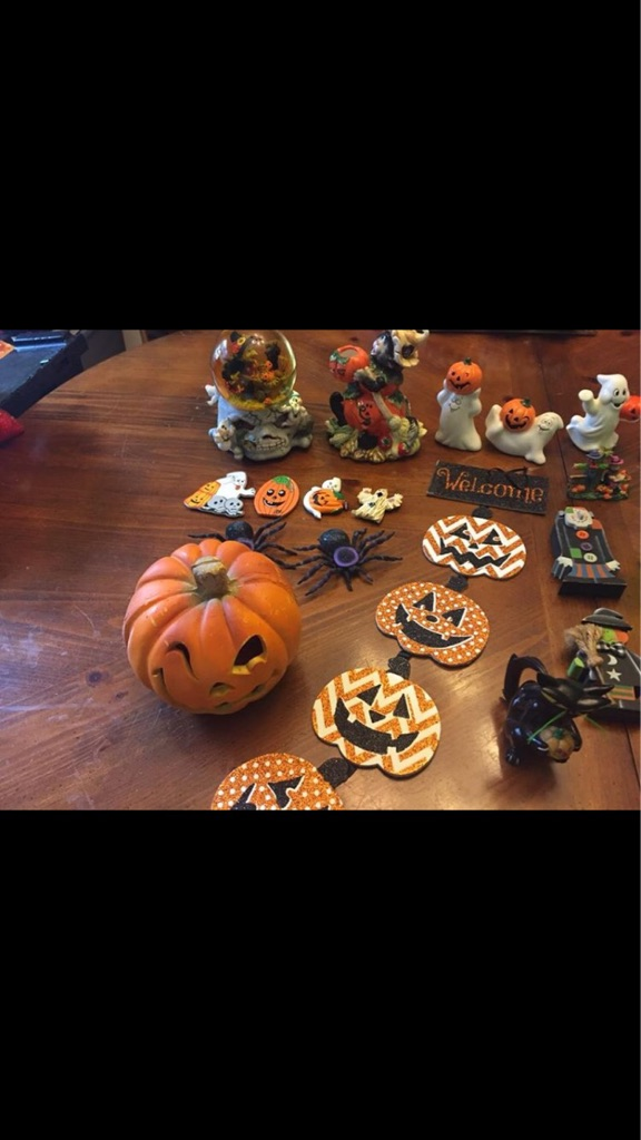 Misc Halloween- 1 snowglobe, ceramic figurines, wooden figurines, magnets, etc.